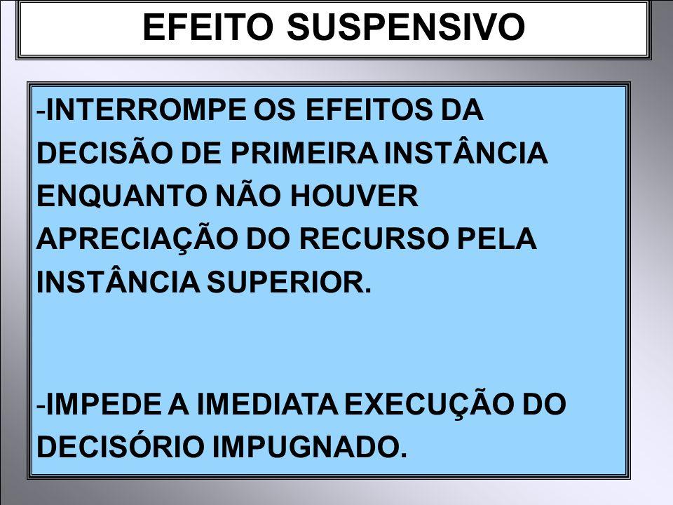EFEITO SUSPENSIVO -INTERROMPE OS EFEITOS DA DECISÃO DE PRIMEIRA INSTÂNCIA ENQUANTO NÃO HOUVER APRECIAÇÃO DO RECURSO PELA INSTÂNCIA SUPERIOR. -IMPEDE A