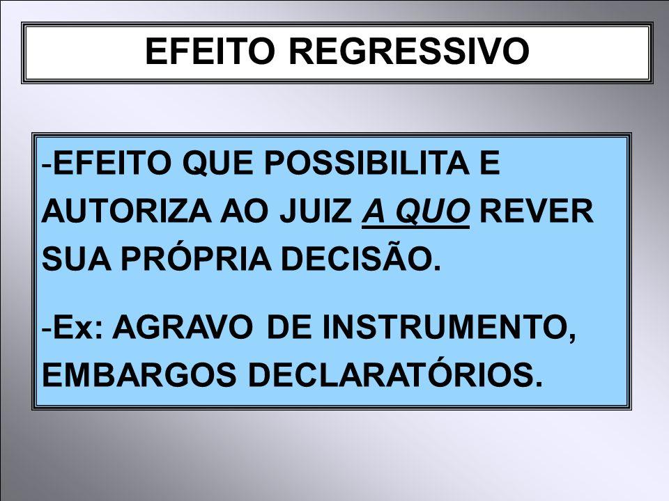 EFEITO REGRESSIVO -EFEITO QUE POSSIBILITA E AUTORIZA AO JUIZ A QUO REVER SUA PRÓPRIA DECISÃO.