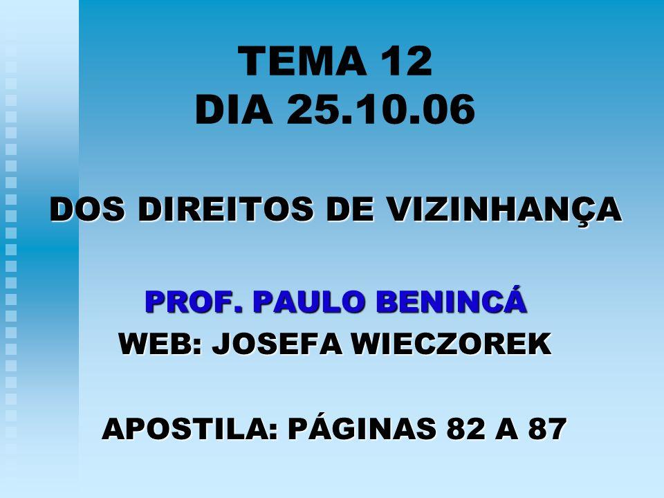 TEMA 12 DIA 25.10.06 DOS DIREITOS DE VIZINHANÇA PROF. PAULO BENINCÁ WEB: JOSEFA WIECZOREK APOSTILA: PÁGINAS 82 A 87