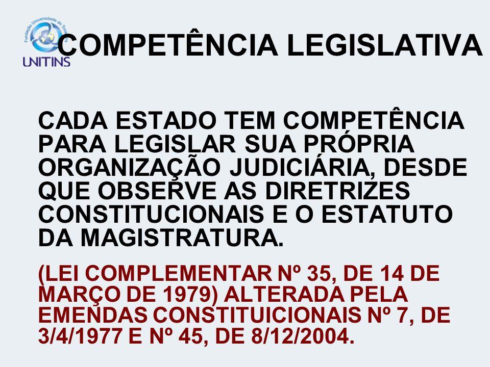 COMPETÊNCIA LEGISLATIVA CADA ESTADO TEM COMPETÊNCIA PARA LEGISLAR SUA PRÓPRIA ORGANIZAÇÃO JUDICIÁRIA, DESDE QUE OBSERVE AS DIRETRIZES CONSTITUCIONAIS