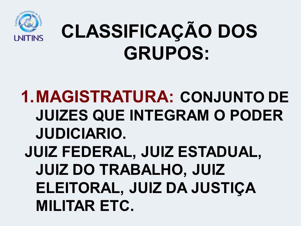CLASSIFICAÇÃO DOS GRUPOS: 1.MAGISTRATURA: CONJUNTO DE JUIZES QUE INTEGRAM O PODER JUDICIARIO. JUIZ FEDERAL, JUIZ ESTADUAL, JUIZ DO TRABALHO, JUIZ ELEI