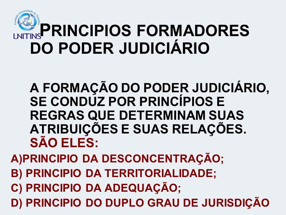 P RINCIPIOS FORMADORES DO PODER JUDICIÁRIO A FORMAÇÃO DO PODER JUDICIÁRIO, SE CONDUZ POR PRINCÍPIOS E REGRAS QUE DETERMINAM SUAS ATRIBUIÇÕES E SUAS RE