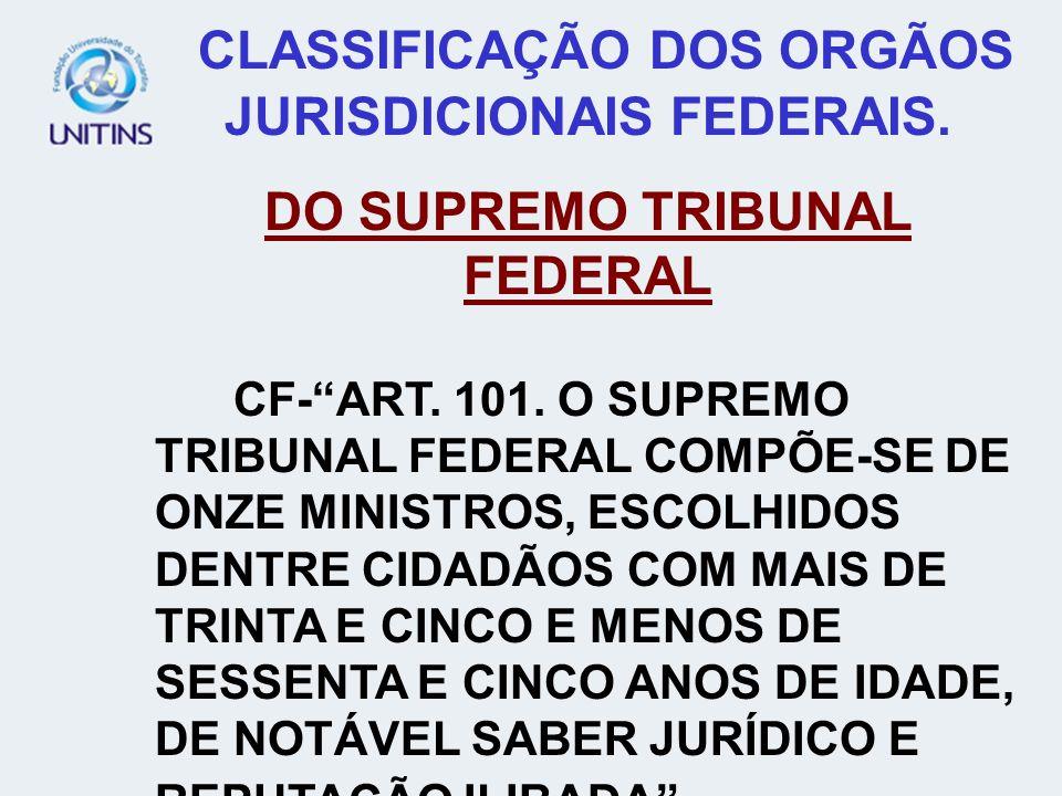 CLASSIFICAÇÃO DOS ORGÃOS JURISDICIONAIS FEDERAIS. DO SUPREMO TRIBUNAL FEDERAL CF-ART. 101. O SUPREMO TRIBUNAL FEDERAL COMPÕE-SE DE ONZE MINISTROS, ESC