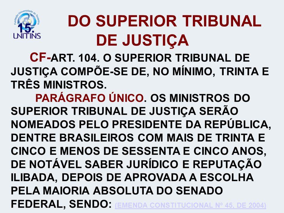 15. DO SUPERIOR TRIBUNAL DE JUSTIÇA CF- ART. 104. O SUPERIOR TRIBUNAL DE JUSTIÇA COMPÕE-SE DE, NO MÍNIMO, TRINTA E TRÊS MINISTROS. PARÁGRAFO ÚNICO. OS