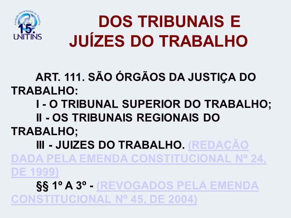 15. DOS TRIBUNAIS E JUÍZES DO TRABALHO ART. 111. SÃO ÓRGÃOS DA JUSTIÇA DO TRABALHO: I - O TRIBUNAL SUPERIOR DO TRABALHO; II - OS TRIBUNAIS REGIONAIS D