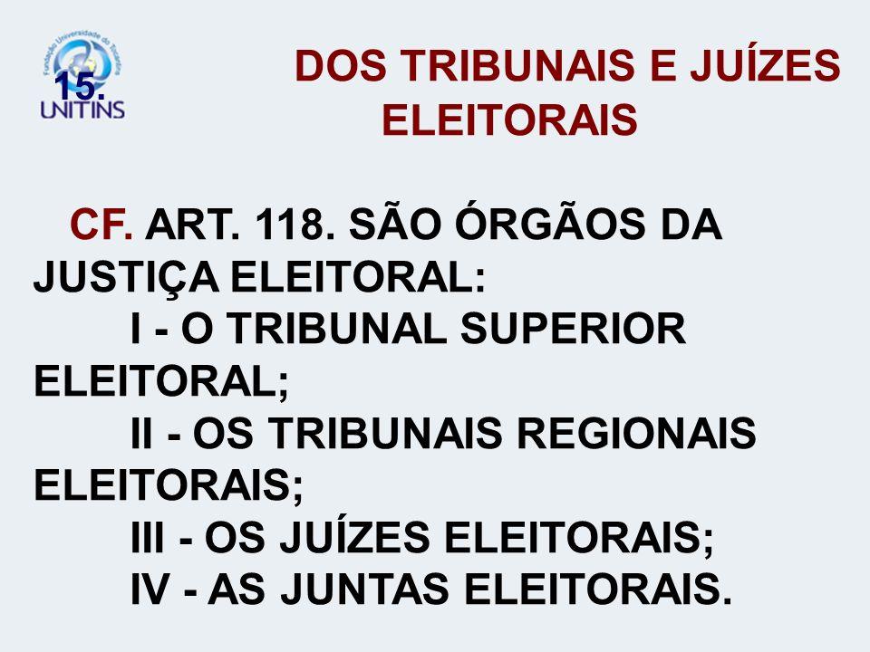 15. DOS TRIBUNAIS E JUÍZES ELEITORAIS CF. ART. 118. SÃO ÓRGÃOS DA JUSTIÇA ELEITORAL: I - O TRIBUNAL SUPERIOR ELEITORAL; II - OS TRIBUNAIS REGIONAIS EL
