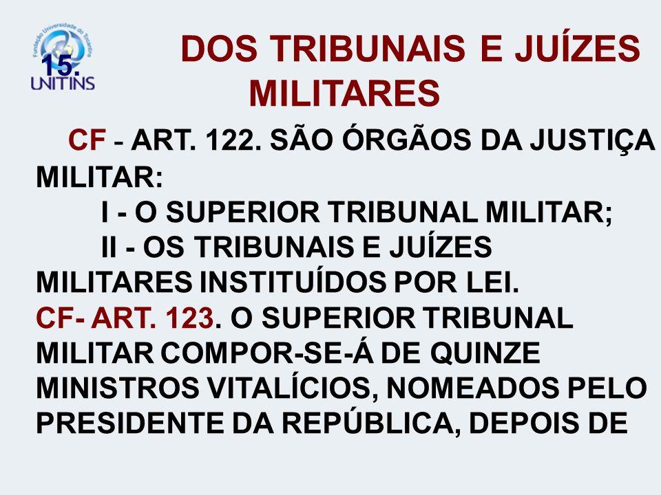 15. DOS TRIBUNAIS E JUÍZES MILITARES CF - ART. 122. SÃO ÓRGÃOS DA JUSTIÇA MILITAR: I - O SUPERIOR TRIBUNAL MILITAR; II - OS TRIBUNAIS E JUÍZES MILITAR