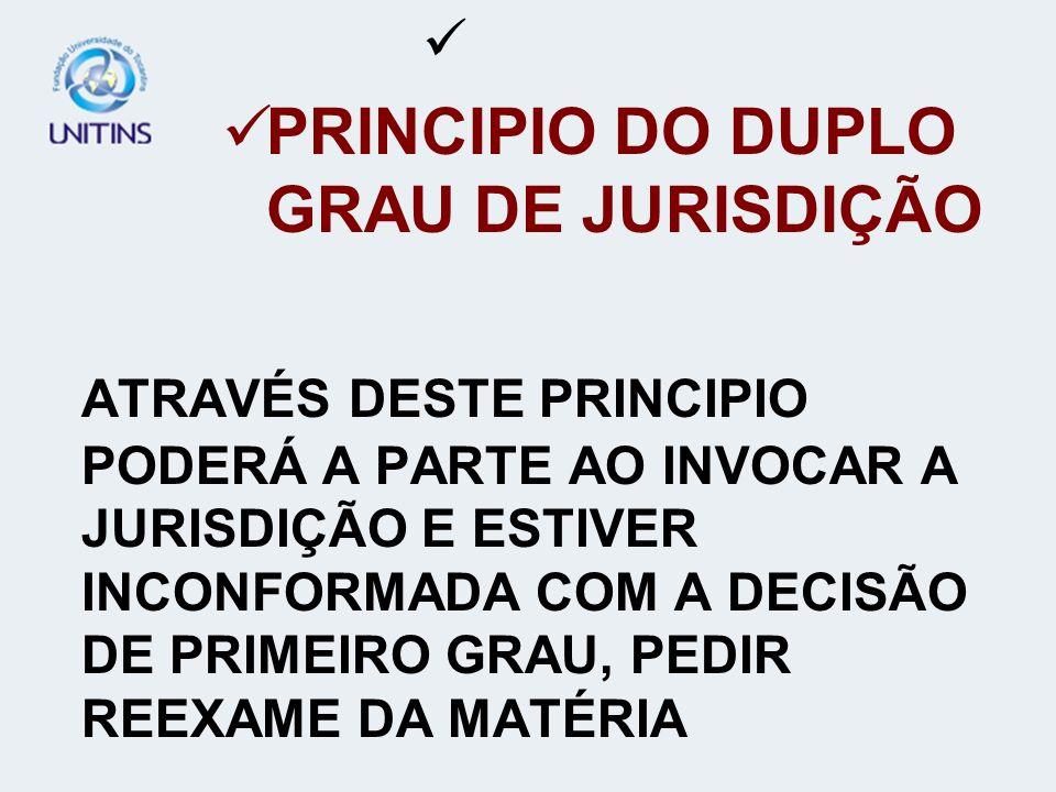 PRINCIPIO DO DUPLO GRAU DE JURISDIÇÃO ATRAVÉS DESTE PRINCIPIO PODERÁ A PARTE AO INVOCAR A JURISDIÇÃO E ESTIVER INCONFORMADA COM A DECISÃO DE PRIMEIRO