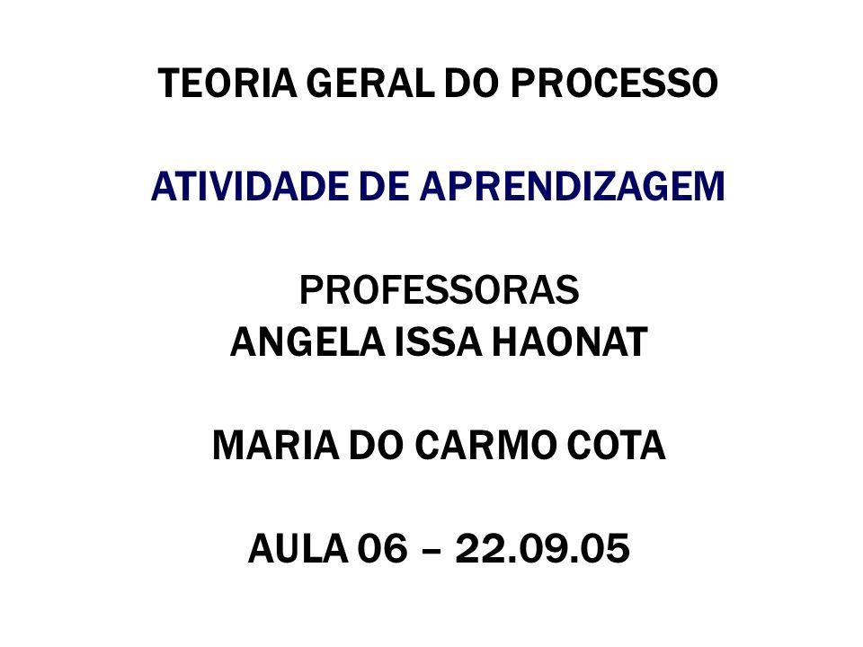 TEORIA GERAL DO PROCESSO ATIVIDADE DE APRENDIZAGEM PROFESSORAS ANGELA ISSA HAONAT MARIA DO CARMO COTA AULA 06 – 22.09.05
