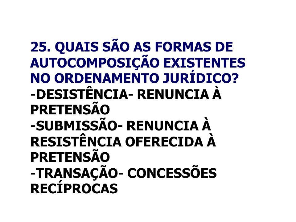 25. QUAIS SÃO AS FORMAS DE AUTOCOMPOSIÇÃO EXISTENTES NO ORDENAMENTO JURÍDICO? -DESISTÊNCIA- RENUNCIA À PRETENSÃO -SUBMISSÃO- RENUNCIA À RESISTÊNCIA OF