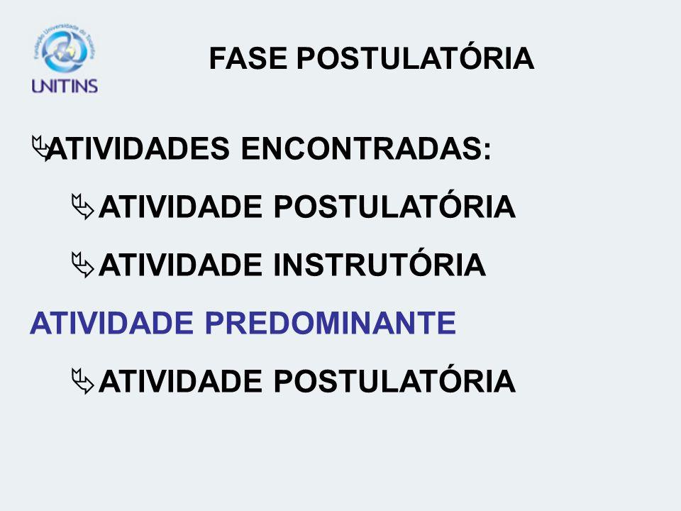 ATIVIDADES ENCONTRADAS: ATIVIDADE POSTULATÓRIA ATIVIDADE INSTRUTÓRIA ATIVIDADE PREDOMINANTE ATIVIDADE POSTULATÓRIA FASE POSTULATÓRIA