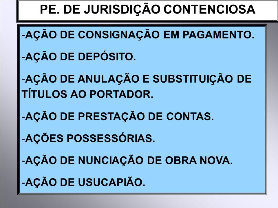 PE. DE JURISDIÇÃO CONTENCIOSA -AÇÃO DE CONSIGNAÇÃO EM PAGAMENTO. -AÇÃO DE DEPÓSITO. -AÇÃO DE ANULAÇÃO E SUBSTITUIÇÃO DE TÍTULOS AO PORTADOR. -AÇÃO DE