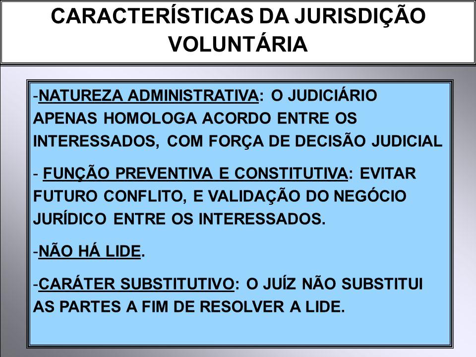 CARACTERÍSTICAS DA JURISDIÇÃO VOLUNTÁRIA -NATUREZA ADMINISTRATIVA: O JUDICIÁRIO APENAS HOMOLOGA ACORDO ENTRE OS INTERESSADOS, COM FORÇA DE DECISÃO JUD