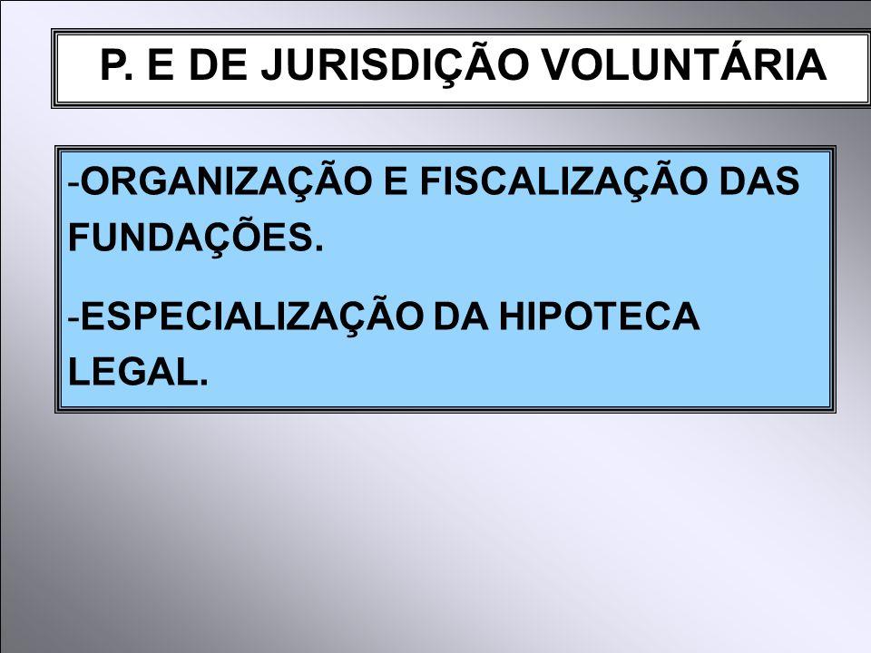 P. E DE JURISDIÇÃO VOLUNTÁRIA -ORGANIZAÇÃO E FISCALIZAÇÃO DAS FUNDAÇÕES. -ESPECIALIZAÇÃO DA HIPOTECA LEGAL.
