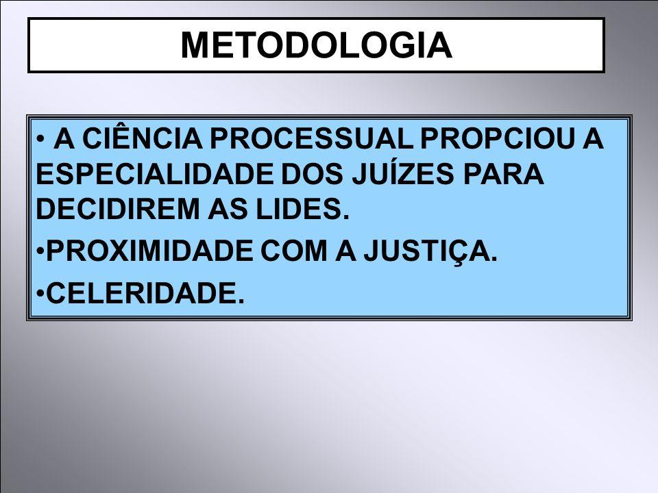 A CIÊNCIA PROCESSUAL PROPCIOU A ESPECIALIDADE DOS JUÍZES PARA DECIDIREM AS LIDES. PROXIMIDADE COM A JUSTIÇA. CELERIDADE. METODOLOGIA