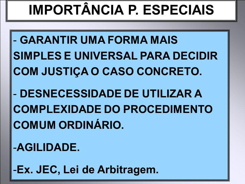 IMPORTÂNCIA P. ESPECIAIS - GARANTIR UMA FORMA MAIS SIMPLES E UNIVERSAL PARA DECIDIR COM JUSTIÇA O CASO CONCRETO. - DESNECESSIDADE DE UTILIZAR A COMPLE