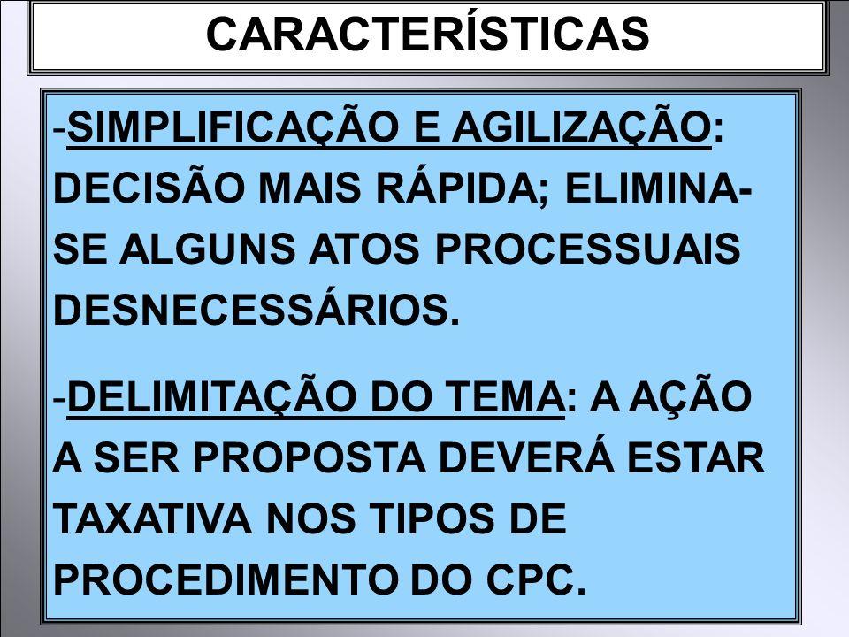 CARACTERÍSTICAS -SIMPLIFICAÇÃO E AGILIZAÇÃO: DECISÃO MAIS RÁPIDA; ELIMINA- SE ALGUNS ATOS PROCESSUAIS DESNECESSÁRIOS. -DELIMITAÇÃO DO TEMA: A AÇÃO A S