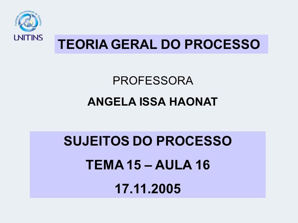 TEORIA GERAL DO PROCESSO PROFESSORA ANGELA ISSA HAONAT SUJEITOS DO PROCESSO TEMA 15 – AULA 16 17.11.2005