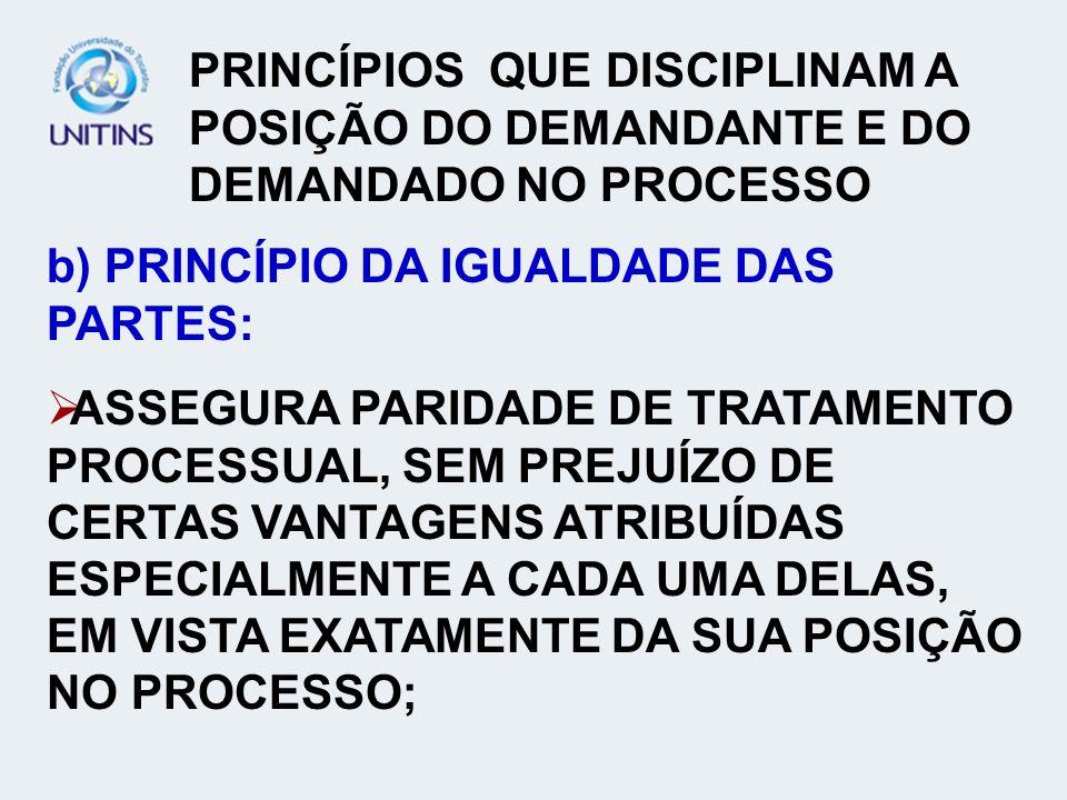 PRINCÍPIOS QUE DISCIPLINAM A POSIÇÃO DO DEMANDANTE E DO DEMANDADO NO PROCESSO b) PRINCÍPIO DA IGUALDADE DAS PARTES: ASSEGURA PARIDADE DE TRATAMENTO PR