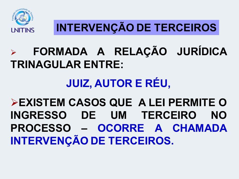 INTERVENÇÃO DE TERCEIROS FORMADA A RELAÇÃO JURÍDICA TRINAGULAR ENTRE: JUIZ, AUTOR E RÉU, EXISTEM CASOS QUE A LEI PERMITE O INGRESSO DE UM TERCEIRO NO