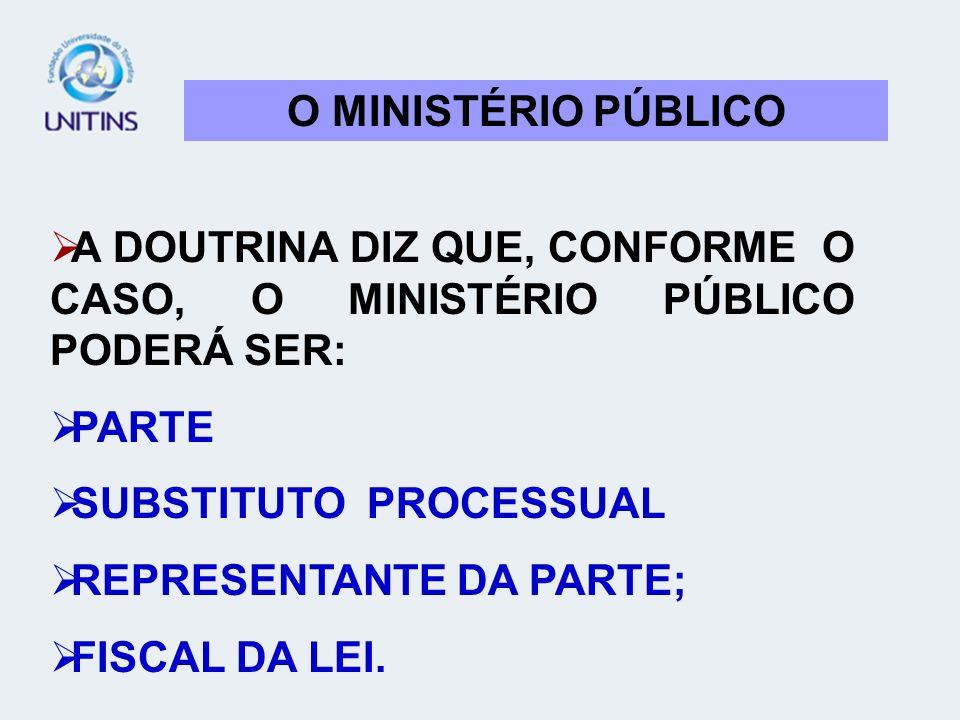 O MINISTÉRIO PÚBLICO A DOUTRINA DIZ QUE, CONFORME O CASO, O MINISTÉRIO PÚBLICO PODERÁ SER: PARTE SUBSTITUTO PROCESSUAL REPRESENTANTE DA PARTE; FISCAL