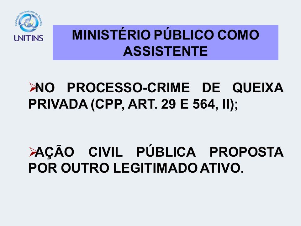 MINISTÉRIO PÚBLICO COMO ASSISTENTE NO PROCESSO-CRIME DE QUEIXA PRIVADA (CPP, ART. 29 E 564, II); AÇÃO CIVIL PÚBLICA PROPOSTA POR OUTRO LEGITIMADO ATIV
