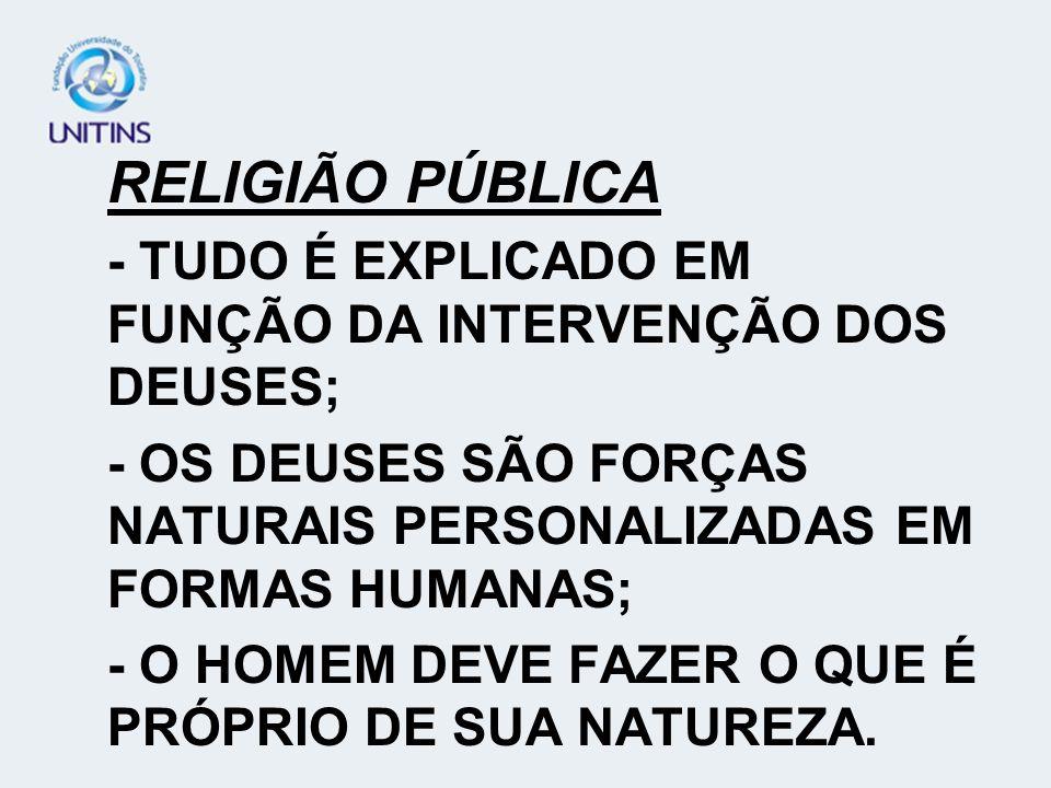 RELIGIÃO PÚBLICA - TUDO É EXPLICADO EM FUNÇÃO DA INTERVENÇÃO DOS DEUSES; - OS DEUSES SÃO FORÇAS NATURAIS PERSONALIZADAS EM FORMAS HUMANAS; - O HOMEM D