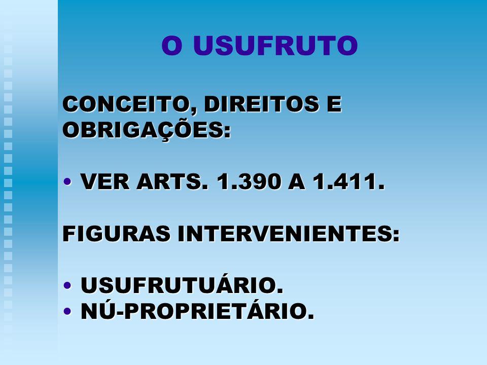 O USUFRUTO CONCEITO, DIREITOS E OBRIGAÇÕES: VER ARTS. 1.390 A 1.411.VER ARTS. 1.390 A 1.411. FIGURAS INTERVENIENTES: USUFRUTUÁRIO.USUFRUTUÁRIO. NÚ-PRO