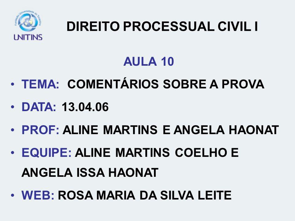 DIREITO PROCESSUAL CIVIL I AULA 10 TEMA: COMENTÁRIOS SOBRE A PROVA DATA: 13.04.06 PROF: ALINE MARTINS E ANGELA HAONAT EQUIPE: ALINE MARTINS COELHO E A