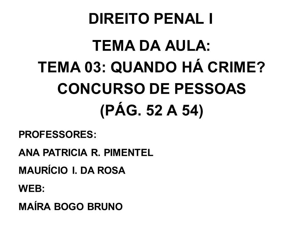 DIREITO PENAL I TEMA DA AULA: TEMA 03: QUANDO HÁ CRIME? CONCURSO DE PESSOAS (PÁG. 52 A 54) PROFESSORES: ANA PATRICIA R. PIMENTEL MAURÍCIO I. DA ROSA W