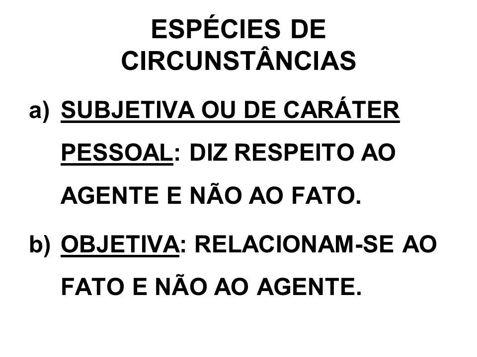 ESPÉCIES DE CIRCUNSTÂNCIAS a)SUBJETIVA OU DE CARÁTER PESSOAL: DIZ RESPEITO AO AGENTE E NÃO AO FATO. b)OBJETIVA: RELACIONAM-SE AO FATO E NÃO AO AGENTE.