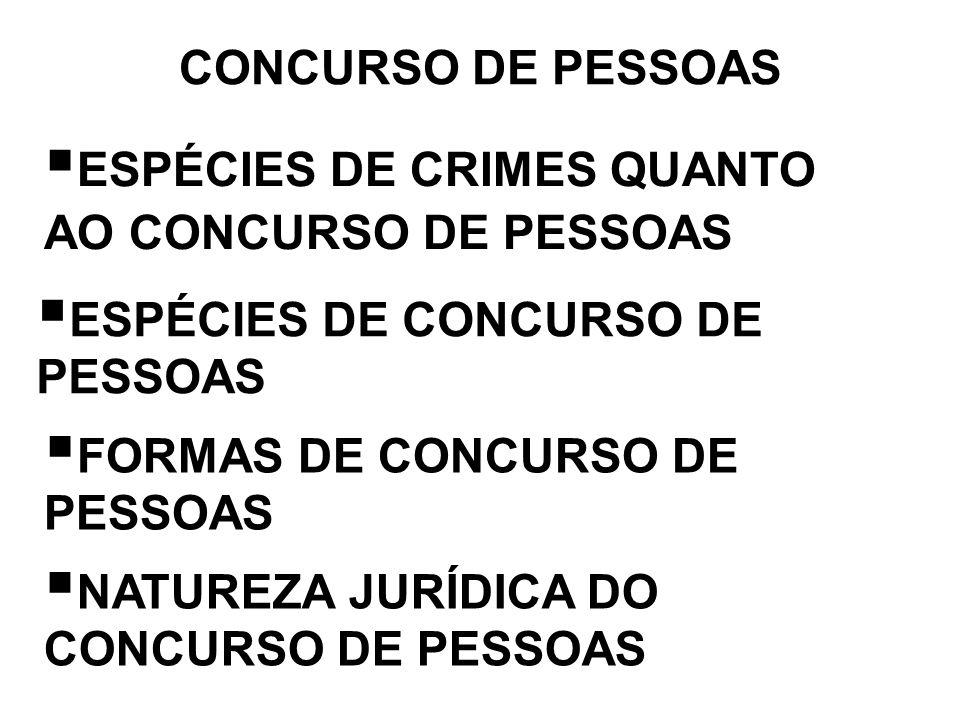 CONCURSO DE PESSOAS ESPÉCIES DE CRIMES QUANTO AO CONCURSO DE PESSOAS ESPÉCIES DE CONCURSO DE PESSOAS FORMAS DE CONCURSO DE PESSOAS NATUREZA JURÍDICA D