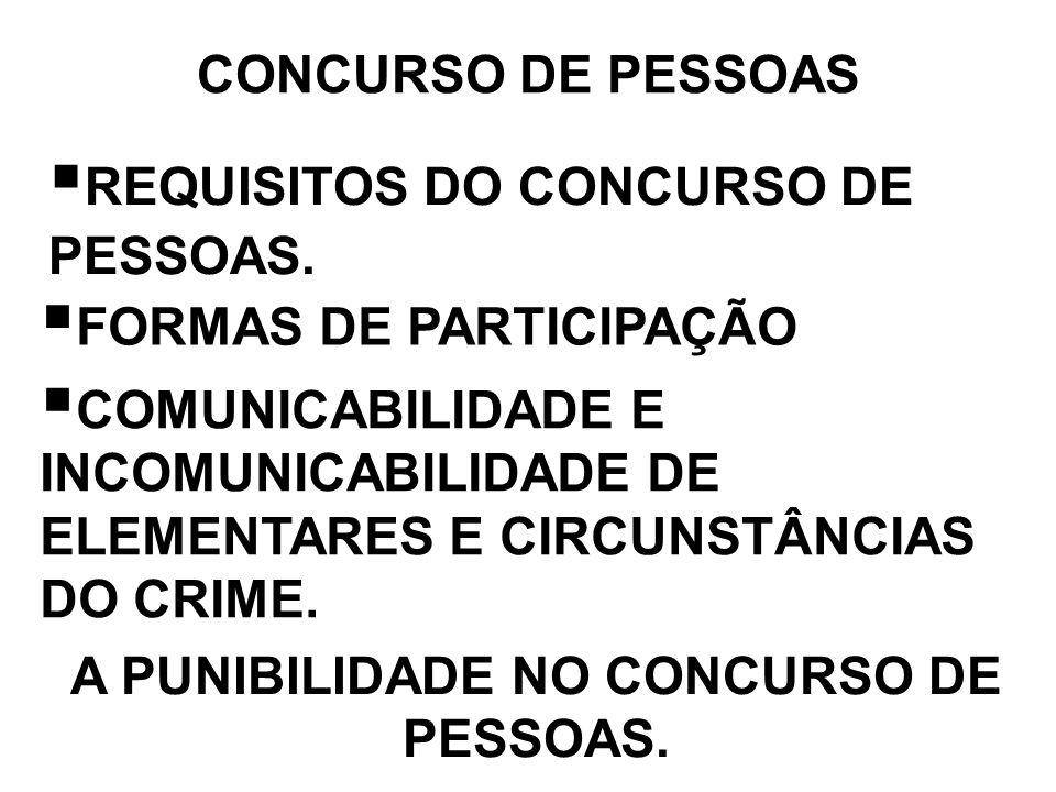 CONCURSO DE PESSOAS REQUISITOS DO CONCURSO DE PESSOAS. FORMAS DE PARTICIPAÇÃO COMUNICABILIDADE E INCOMUNICABILIDADE DE ELEMENTARES E CIRCUNSTÂNCIAS DO