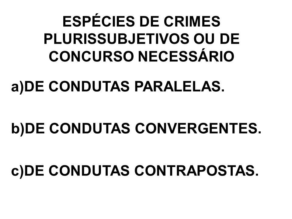 ESPÉCIES DE CRIMES PLURISSUBJETIVOS OU DE CONCURSO NECESSÁRIO a)DE CONDUTAS PARALELAS. b)DE CONDUTAS CONVERGENTES. c)DE CONDUTAS CONTRAPOSTAS.