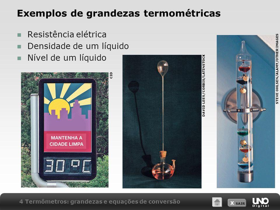 X SAIR Exemplos de grandezas termométricas Resistência elétrica Densidade de um líquido Nível de um líquido CID DAVID LEES/CORBIS/LATINSTOCK STEVE OHL