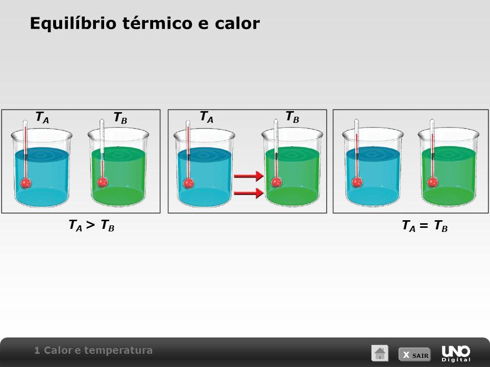 X SAIR Lei zero da termodinâmica Se A está em equilíbrio térmico com B, e A também está em equilíbrio térmico com C, podemos concluir que B está em equilíbrio térmico com C.