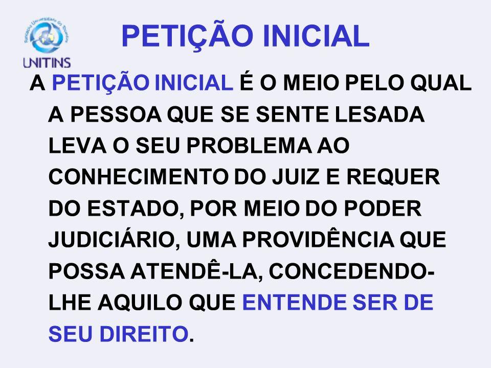 ESTRUTURA DA PETIÇÃO INICIAL HÁ UM ENCADEAMENTO LÓGICO, COM A INTENÇÃO DE CONVENCER O JULGADOR.