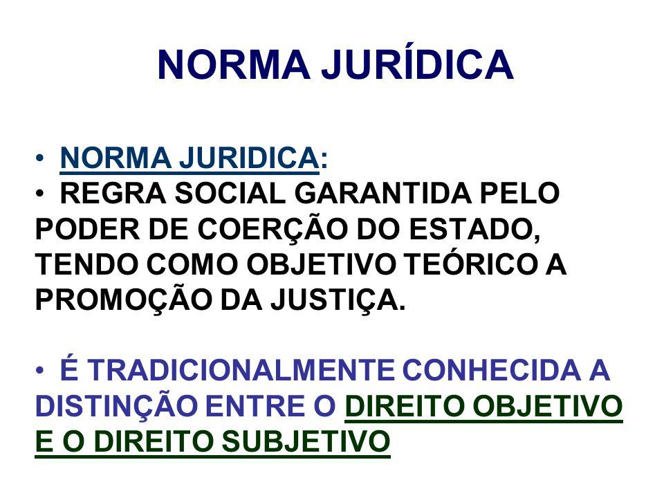 NORMA JURÍDICA NORMA JURIDICA: REGRA SOCIAL GARANTIDA PELO PODER DE COERÇÃO DO ESTADO, TENDO COMO OBJETIVO TEÓRICO A PROMOÇÃO DA JUSTIÇA. É TRADICIONA