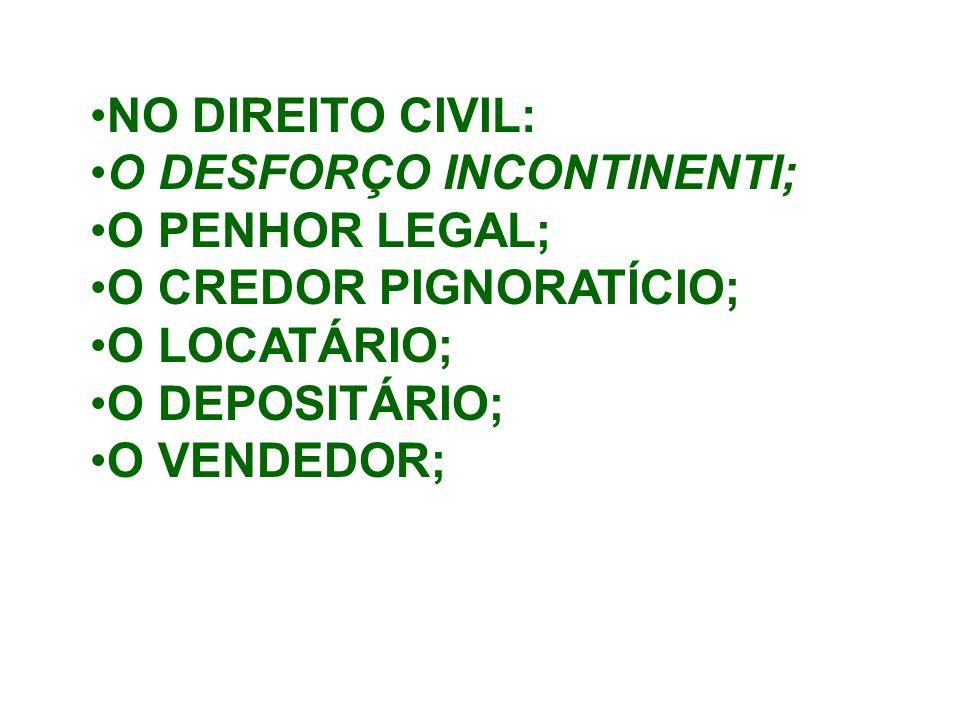 NO DIREITO CIVIL: O DESFORÇO INCONTINENTI; O PENHOR LEGAL; O CREDOR PIGNORATÍCIO; O LOCATÁRIO; O DEPOSITÁRIO; O VENDEDOR;