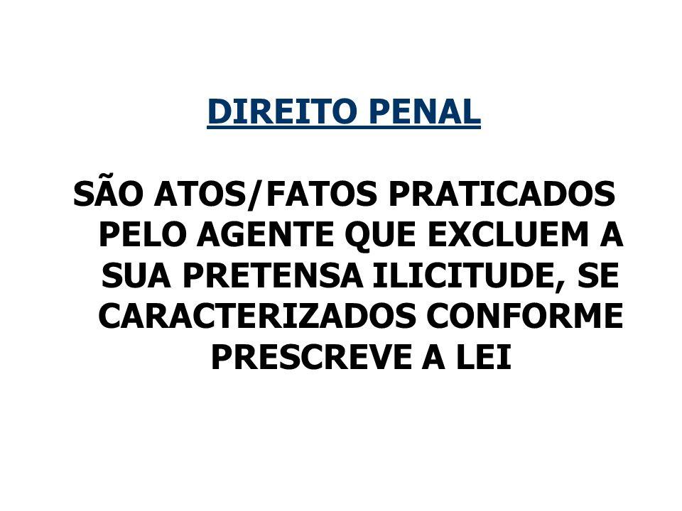 DIREITO PENAL SÃO ATOS/FATOS PRATICADOS PELO AGENTE QUE EXCLUEM A SUA PRETENSA ILICITUDE, SE CARACTERIZADOS CONFORME PRESCREVE A LEI