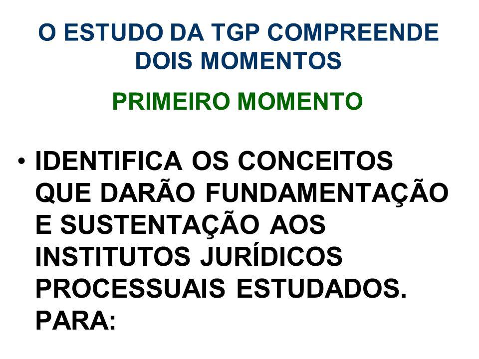 O ESTUDO DA TGP COMPREENDE DOIS MOMENTOS PRIMEIRO MOMENTO IDENTIFICA OS CONCEITOS QUE DARÃO FUNDAMENTAÇÃO E SUSTENTAÇÃO AOS INSTITUTOS JURÍDICOS PROCE