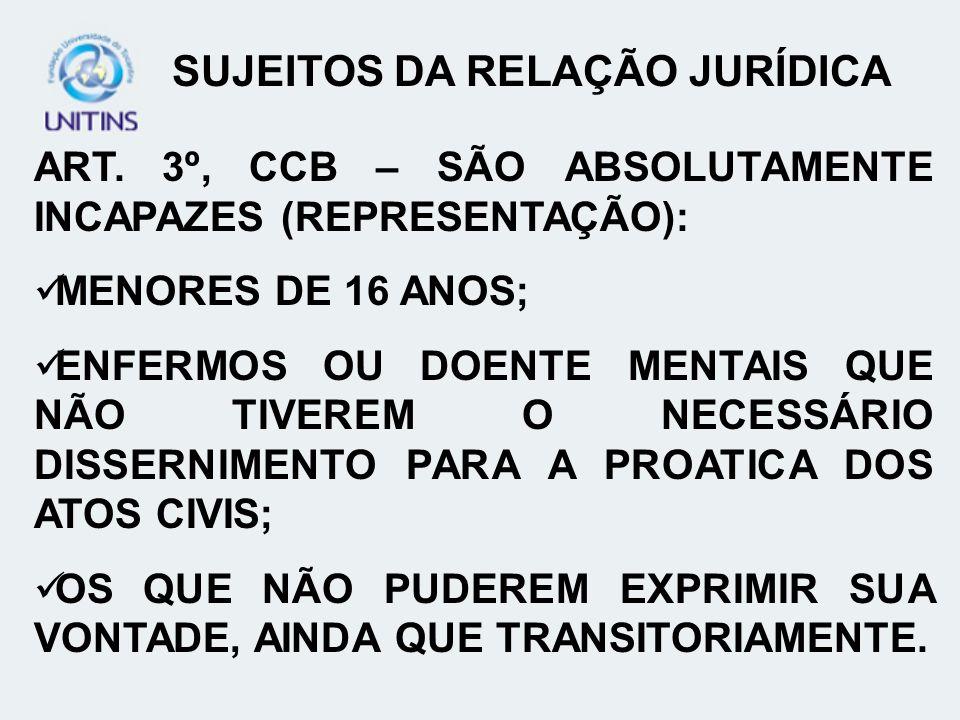 ART. 3º, CCB – SÃO ABSOLUTAMENTE INCAPAZES (REPRESENTAÇÃO): MENORES DE 16 ANOS; ENFERMOS OU DOENTE MENTAIS QUE NÃO TIVEREM O NECESSÁRIO DISSERNIMENTO
