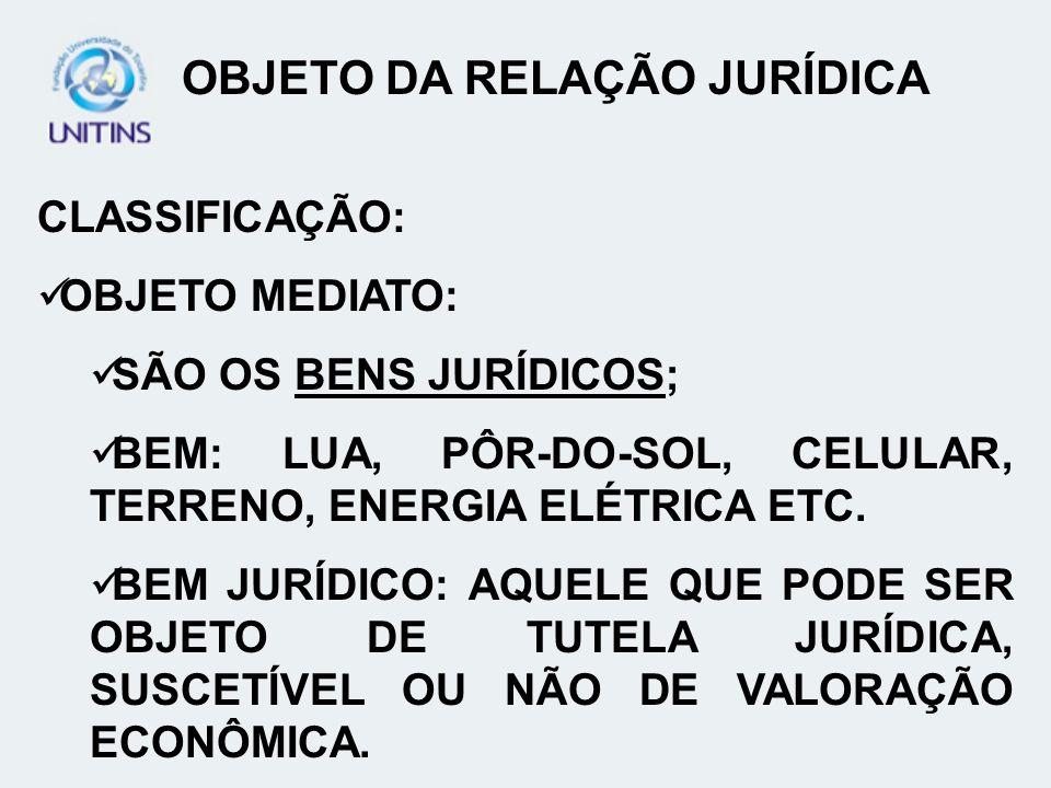 CLASSIFICAÇÃO: OBJETO MEDIATO: SÃO OS BENS JURÍDICOS; BEM: LUA, PÔR-DO-SOL, CELULAR, TERRENO, ENERGIA ELÉTRICA ETC. BEM JURÍDICO: AQUELE QUE PODE SER