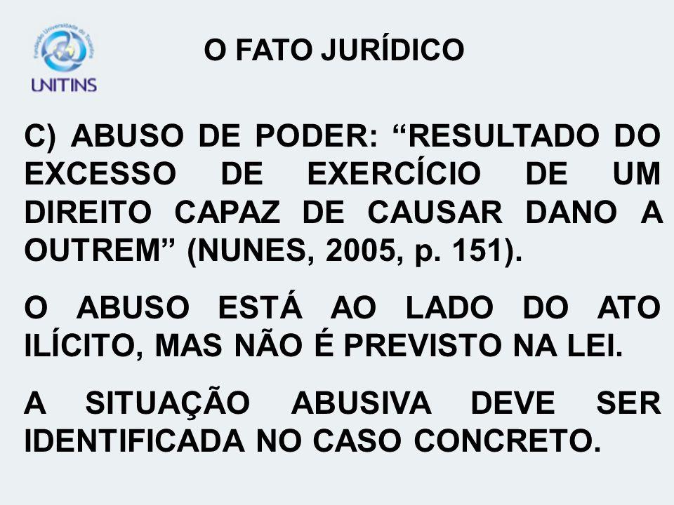 C) ABUSO DE PODER: RESULTADO DO EXCESSO DE EXERCÍCIO DE UM DIREITO CAPAZ DE CAUSAR DANO A OUTREM (NUNES, 2005, p. 151). O ABUSO ESTÁ AO LADO DO ATO IL