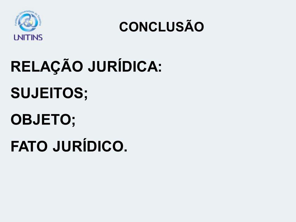 CONCLUSÃO RELAÇÃO JURÍDICA: SUJEITOS; OBJETO; FATO JURÍDICO.