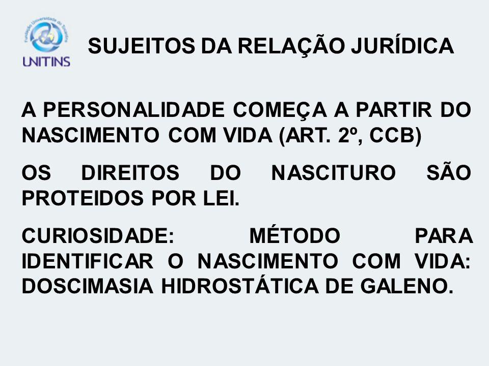 CAPACIDADE JURÍDICA DETERMINADA PELA APTIDÃO PESSOAL PARA PRATICAR ATOS COM EFEITOS JURÍDICOS ART.