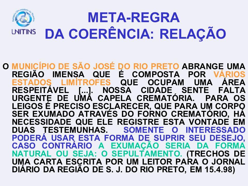 META-REGRA DA COERÊNCIA: NÃO-CONTRADIÇÃO CADA PARTE DO TEXTO DEVEFAZER SENTIDO COM O QUE SE DISSE ANTES.