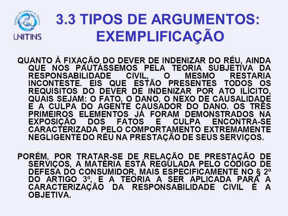 3.2 TIPOS DE ARGUMENTOS: ANALOGIA EM UM DOS JULGADOS QUE DERAM ORIGEM À SÚMULA 37 DO STJ, ASSIM SE EXPRESSOU O MIN. ATHOS CARNEIRO: AINDA COM REFERÊNC