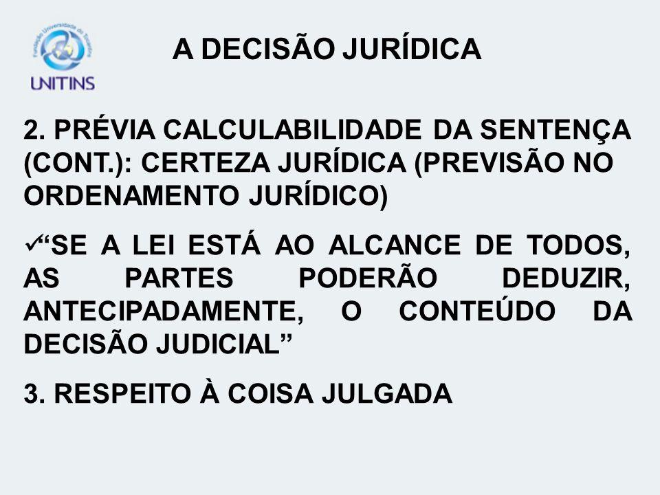 2. PRÉVIA CALCULABILIDADE DA SENTENÇA (CONT.): CERTEZA JURÍDICA (PREVISÃO NO ORDENAMENTO JURÍDICO) SE A LEI ESTÁ AO ALCANCE DE TODOS, AS PARTES PODERÃ