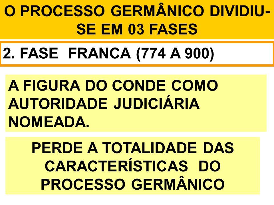 O PROCESSO GERMÂNICO DIVIDIU- SE EM 03 FASES 2. FASE FRANCA (774 A 900) A FIGURA DO CONDE COMO AUTORIDADE JUDICIÁRIA NOMEADA. PERDE A TOTALIDADE DAS C